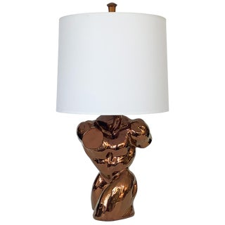 Metallic Copper Glazed Ceramic Nude Male Torso Table Lamp For Sale