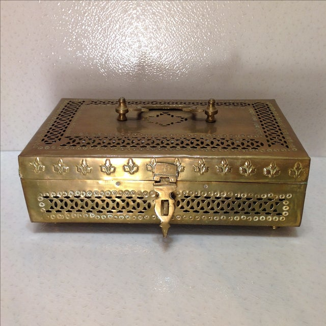 Ornate Vintage Hinged Brass Box - Image 3 of 10