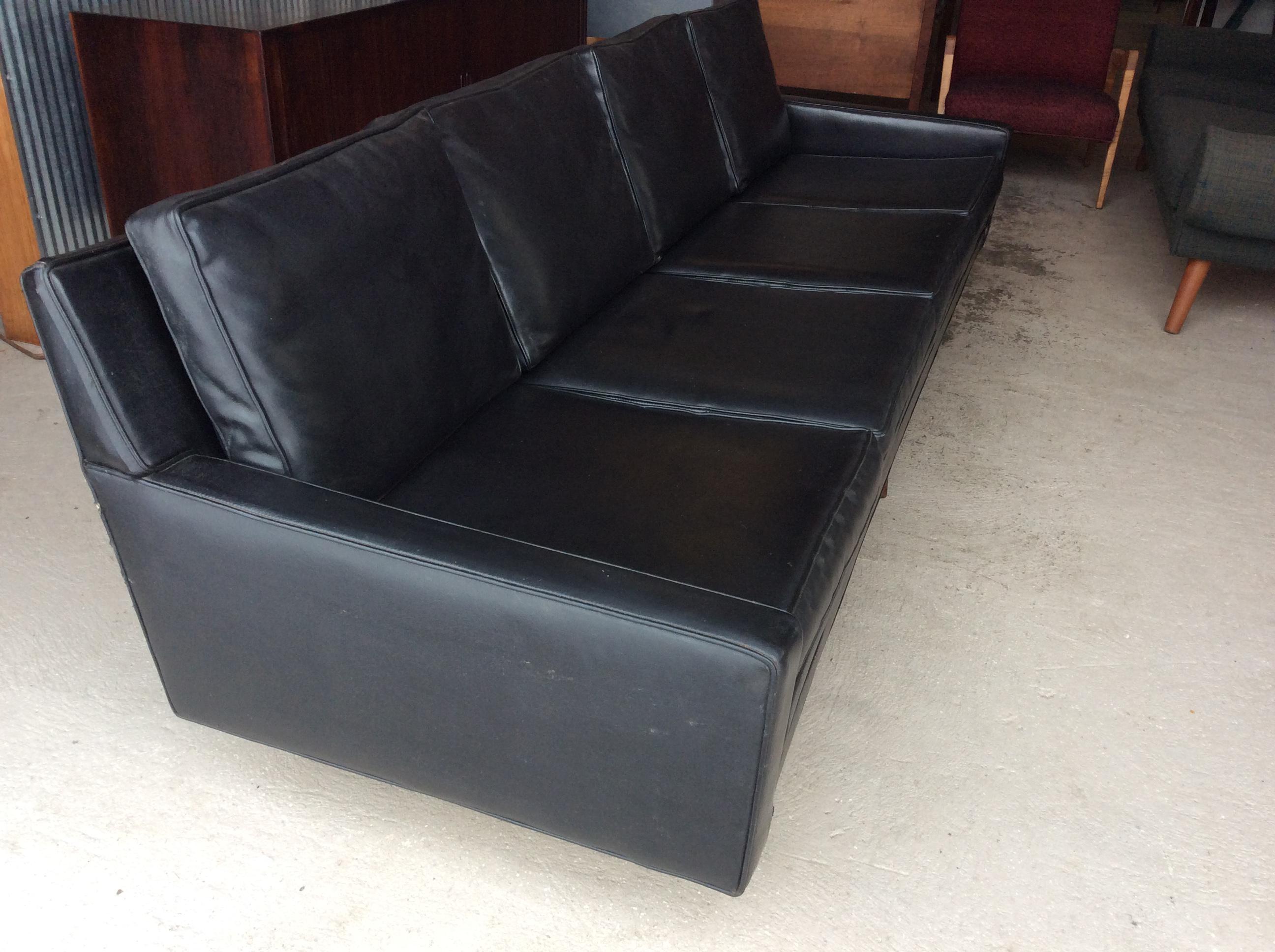 Milo Baughman For Thayer Coggin Black Vinyl Sofa With Walnut Legs. Sofa Is  In Good