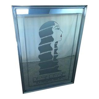 Mid-20th Century Art Nouveau Desfosse Silver Art Glass Wall Mirror