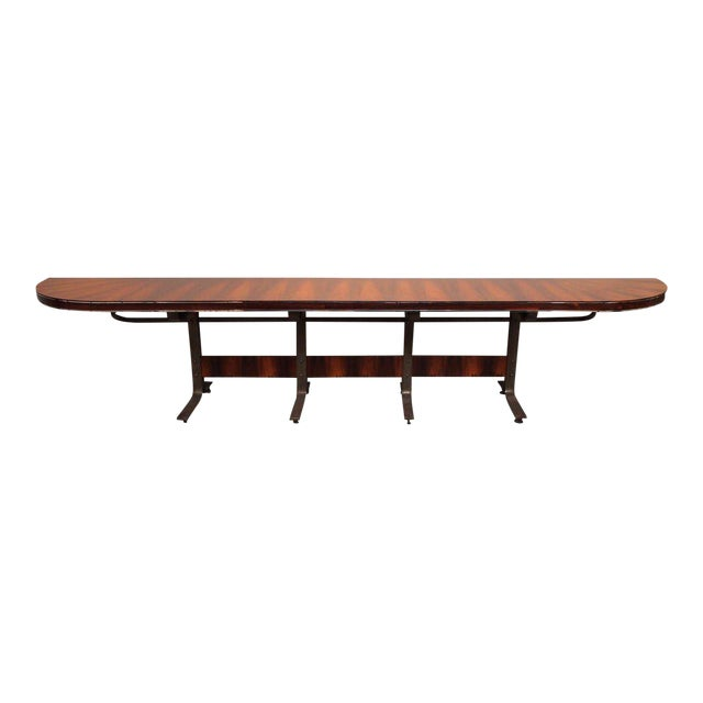 Rosewood & Steel Console For Sale