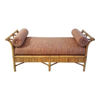 Vintage Ficks Reed Upholstered Rattan Bench With Roll Pillows For Sale