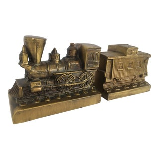 1970s Americana Brass Train Bookends - a Pair