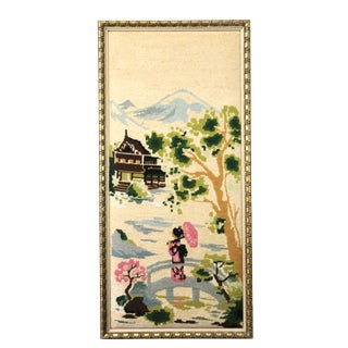 Vintage Girl in Pink Kimono on Footbridge Needlepoint Artwork For Sale