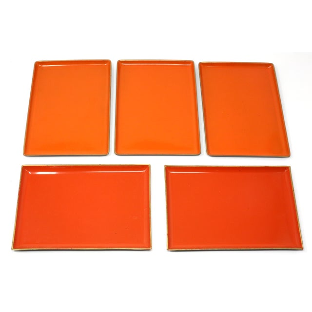 1970s Vintage Orange Lacquered Trays - Set of 5 For Sale - Image 5 of 11