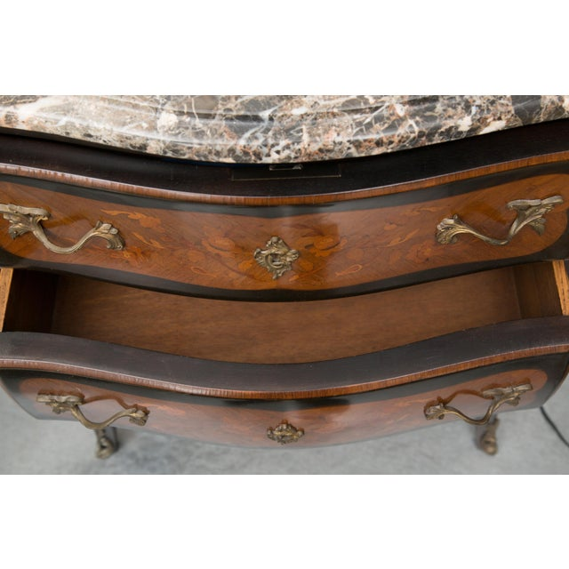 Louis XV Style Two-Drawer Commode With Varigated Marble Top For Sale - Image 9 of 13