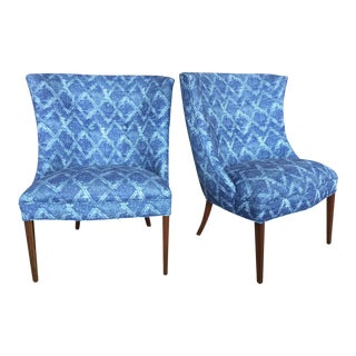 Restored Vintage Wingback Chairs in Indigo Shibori Fabric - A Pair For Sale