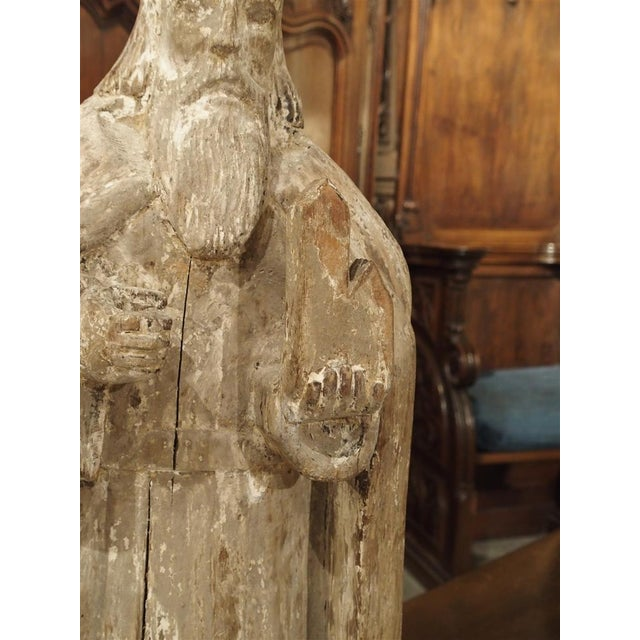 White Early 1800s Partially Stripped French Wood Statue of St Martin De Tours For Sale - Image 8 of 13