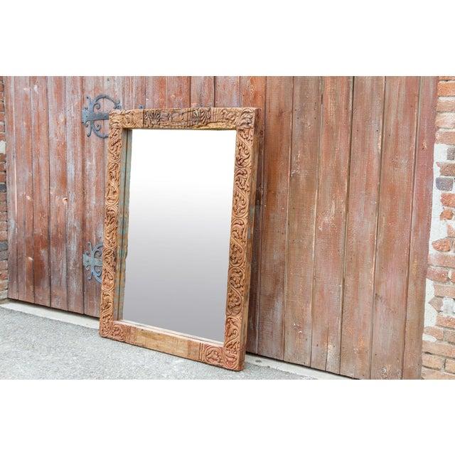 19th Century Antique Primitive Fleur De Lis Carved Mirror For Sale - Image 5 of 11