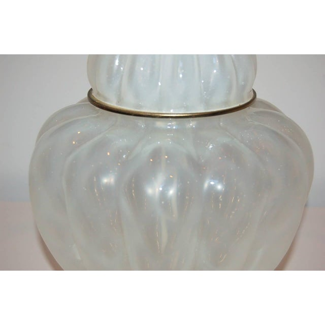 Marbro Murano Opaline Glass Table Lamps White For Sale - Image 9 of 10