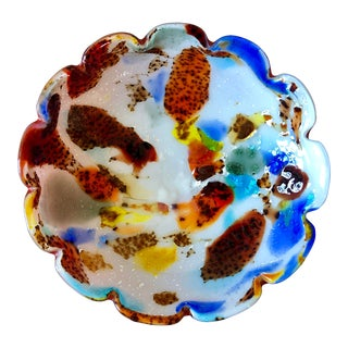 Mid Century Multicolor Murano Glass Bowl For Sale