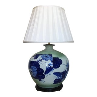 Oversize Asian Lamp & Silk Shade For Sale