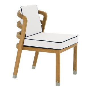 Linley Dining Side Chair in Nice White with Sundeck Blue Welt For Sale