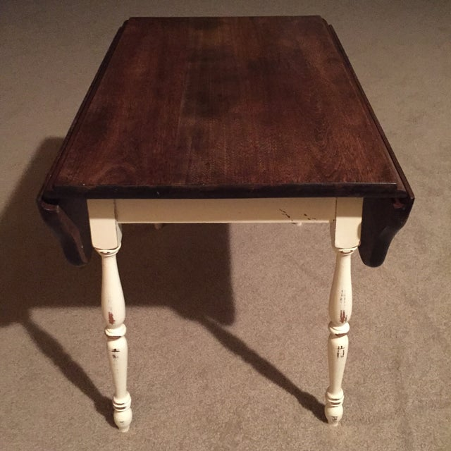 Farmhouse Style Vintage Drop Leaf Side Table For Sale - Image 5 of 8