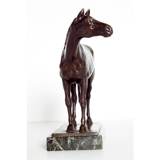 Art Nouveau Early 20th Century Austrian Bronze Standing Horse by Ferdinand Lugerth For Sale - Image 3 of 13