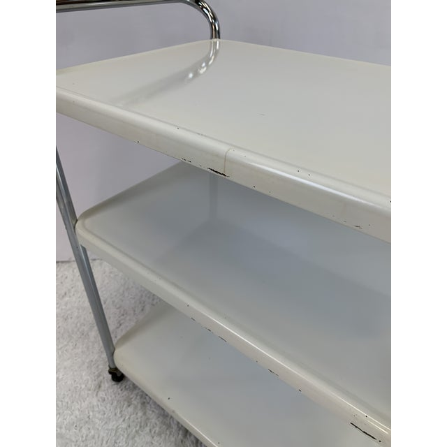 Mid-Century Modern Mid-Century Modern Three-Tier Enameled Metal Serving Cart by Cosco Hamilton For Sale - Image 3 of 11