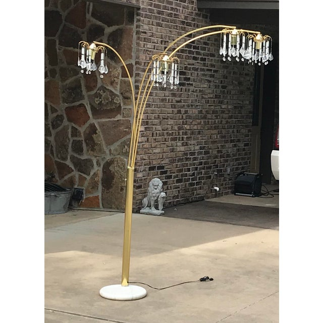 Glass Vintage Mid Century Waterfall Floor Lamp With Marble Base For Sale - Image 7 of 13