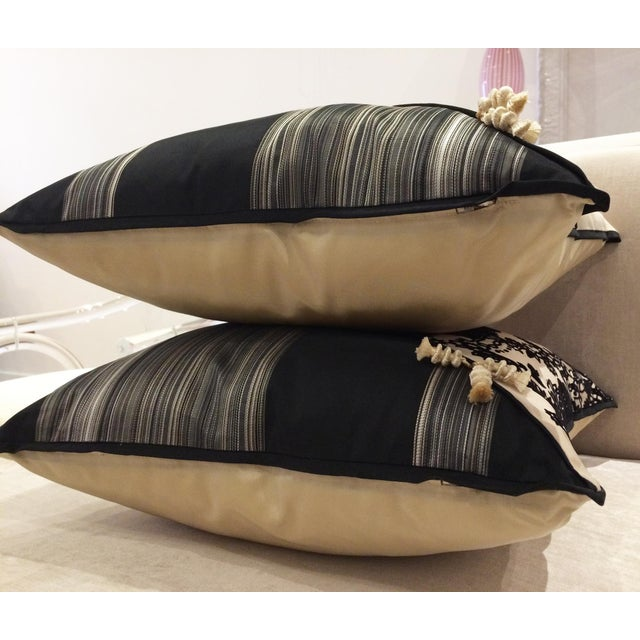 2010s DWM   MALOOS Contemporary Dia Noire Flocked Pillows - a Pair For Sale - Image 5 of 13