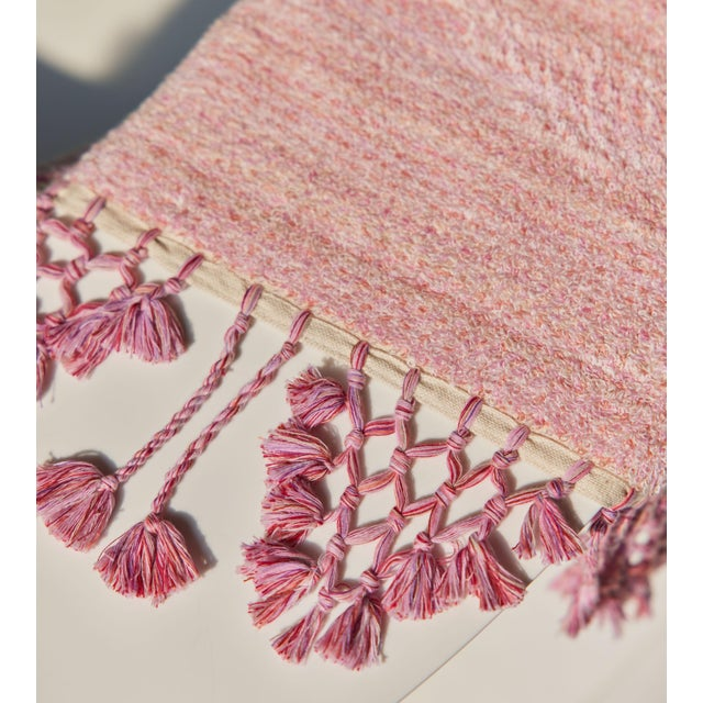 Earth Lines Handmade Organic Cotton Towel in Pink For Sale - Image 6 of 8