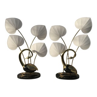 Pair of Seated Egret / Flamingo Brass Floor Lamp by Antonio Pavia