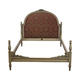 French Louis XVI Style Custom Size Carved and Upholstered Paint Frame Bed by Hale For Sale