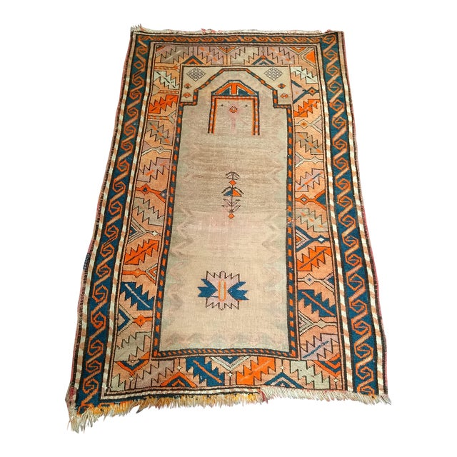Early 20th Century Kurdish Camelhair Prayer Rug - 3′6″ × 5′4″ For Sale