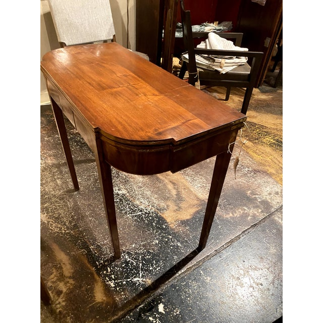Chestnut George III Mahogany and Inlaid Fold-Top Console Table For Sale - Image 8 of 12