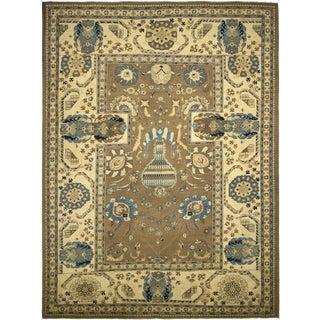 Southwestern Kafkaz Peshawar Vasiliki Brown/Ivory Wool Rug - 10'8 X 14'11 For Sale