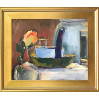 Still Life Oil Painting W/ Pitcher and Rose