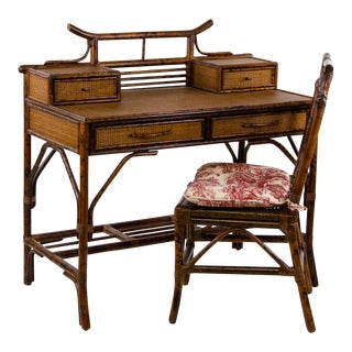 1920s Vintage Faux Bamboo and Rattan Writing Desk and Chair - A Pair For Sale