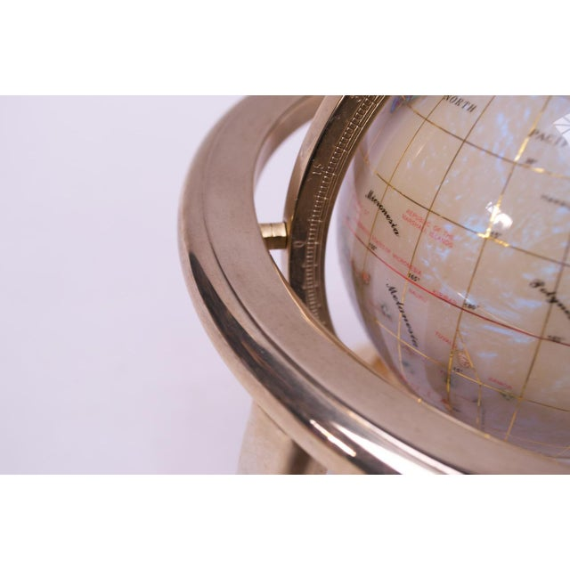 Contemporary Petite Desk Globe in Brass, Gemstones, and Mother of Pearl For Sale - Image 11 of 13