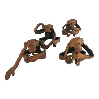Vintage Leather Monkey Figurines - Set of 4 For Sale