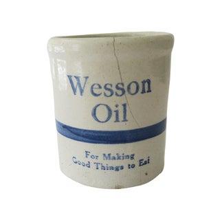 Vintage Wesson Oil White Blue Striped Stoneware Jar Crock Planter Pot For Sale
