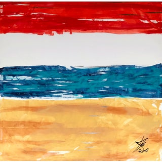 """""""Redondo Beach"""" Contemporary Abstract Mixed-Media Painting 57x57"""" For Sale"""