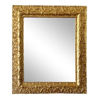Antique 24k Gold Leaf Gesso Wall Mirror For Sale