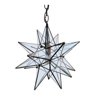 Large Glass Metal Star Ceiling Chandelier Restoration Hardware Style Light For Sale