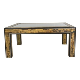 Mastercraft Black Lacquer and Etched Brass Cocktail Table by Bernard Rohne