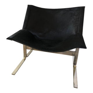 Vintage Global Views Cantilever Black Hair-On-Hide Accent Chair For Sale