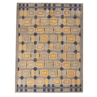 Rug & Kilim's Scandinavian-Inspired Geometric Gold Beige and Blue Wool Pile Rug For Sale