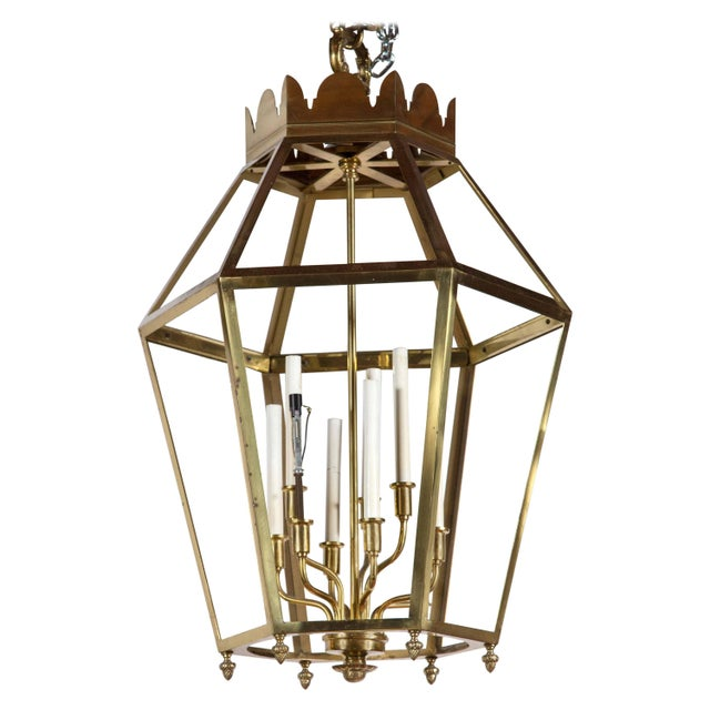 Gold 1960s Vintage Hexagonal Brass Lantern For Sale - Image 8 of 8