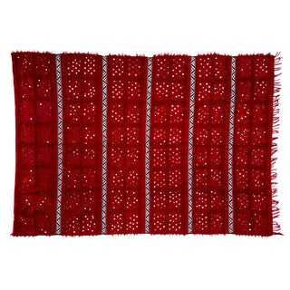"Handira Red Wedding Blanket - 5'7"" x 8'"