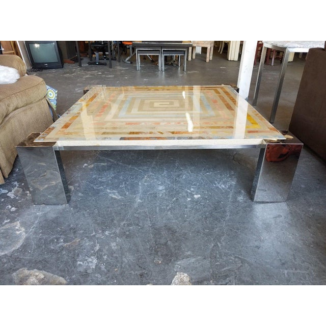 Modern 1970s Modern Marcello Mioni Pietra Dura Marble & Chrome Coffee Table For Sale - Image 3 of 11