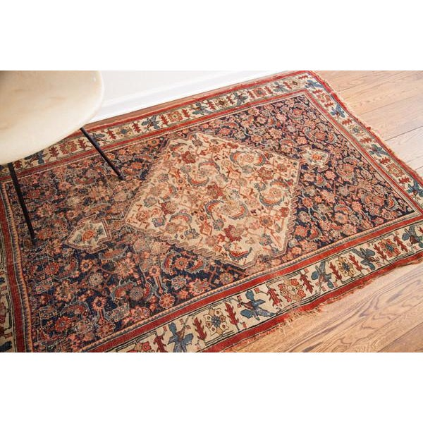 "Antique Bijar Area Rug - 5'4"" X 6'8"" - Image 9 of 10"