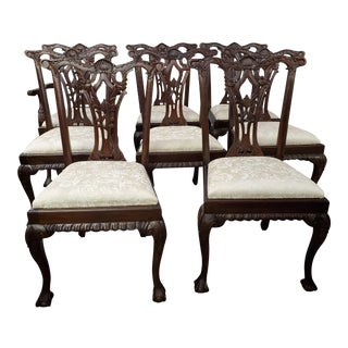 Late 20th Century Vintage Chippendale Style Dining Chairs- Set of 8 For Sale