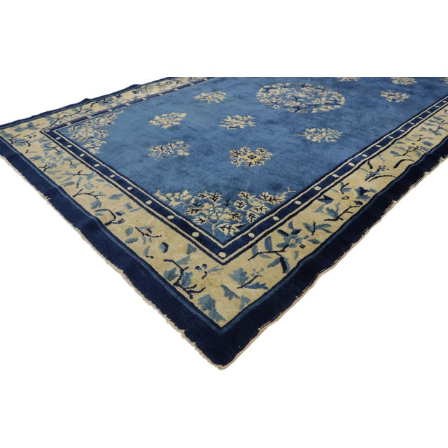 77330 Antique Chinese Peking Rug with Romantic Chinoiserie Style 04'01 x 06'09. This hand-knotted wool antique Chinese...
