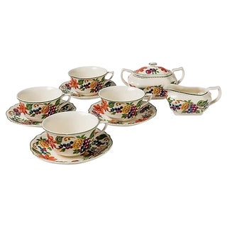 Fruit & Floral Tea Set - Set of 10 For Sale