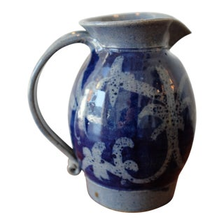 Hand Painted Blue Studio Pottery Stoneware Pitcher For Sale