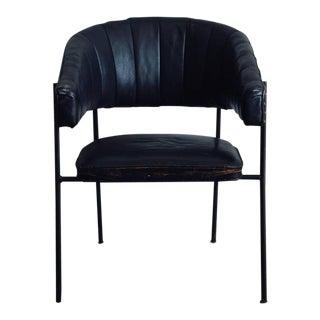 1950s Vintage Jacques Adnet Style Black Leather Croissant Armchair For Sale