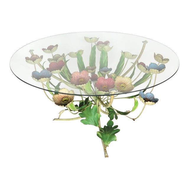 1960s Italian Multi-Color Tole Wrought Iron Coffee Table For Sale