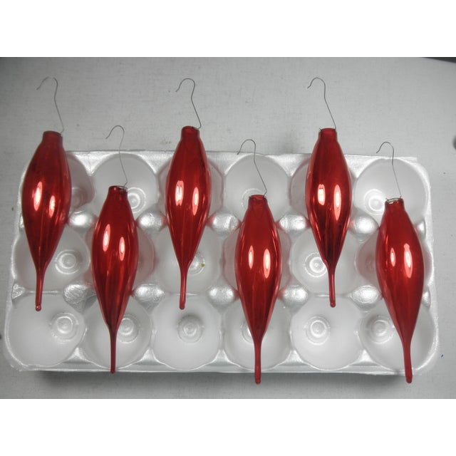 Red Glass Icicle Ornaments - Set of 6 - Image 2 of 4